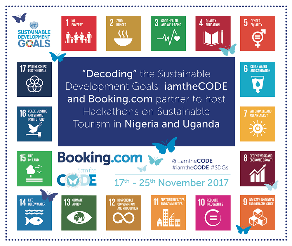 """Decoding"" the Sustainable Development Goals: iamtheCODE and Booking.com partner to host Hackathons on Sustainable Tourism in Nigeria and Uganda."